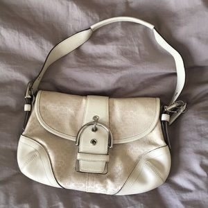 Coach Cream Baguette Buckle Flat Shoulder Bag Soho